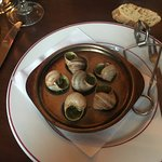 Escargots in white wine to die for.