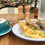 My breakfast at Malongo - excellent scrambled egg and cappuccino.
