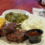 Filet Medallions with whipped potatoes and creamed spinach. The house steak sauce is excellent.