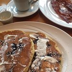 Wild Maine Blueberry Pancakes with Canadian Bacon