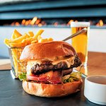 Kennedy's Creek Grass fed beef burger, straight cut chips with rosemary salt and a refreshing pot of local Furphy Ale