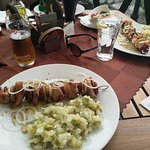 Grilled skewers with potato salad