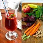 Did you try our House made Organic Beetroot, Carrot, Turmeric, Apple, Bannana, Mint Smoothie