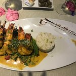 Grilled Tiger Prawns with curry and mango