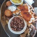 Blackened Mahi, scallops and shrimp. Them HUSHPUPPIES!!