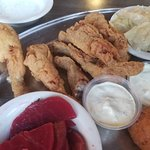Frog Legs, beets and cabbage