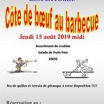 Côte de bœuf au barbecue le 15 août 2019. Sur réservation.