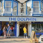 The Dolphin. A great family and dog friendly restaurant with lovely views over the harbour.