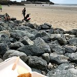 cod and chips on the beach