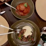 Entrees - Meatballs in tomato and basil sauce, Chargrilled octopus, tomato, black pepper, garlic