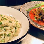 Eat,y Bird risotto and braised pork collar