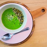 Homemade Soup of the day ! Sweet Peas and melon gazpacho.