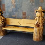 Great Carved Bench Outside Restaurant.
