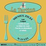 🍴 De la ora 12:00 vă așteptăm #LaTartine #Cotroceni cu #MeniulZilei (#Luni, 5 #august) la 23 lei: - Ciorbă de pui cu tăiței de casă - Fasole cu afumătură și salată  * în limita stocului disponibil P.S. Nu ratați cele mai delicioase #tartine si #FructeDeMare #LaTartineCotroceni #Bucuresti