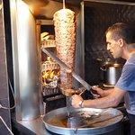 Slicing the doner kebab