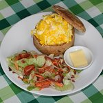 Scrambled eggs in our sourdough bread with salad.  All local or organic