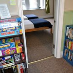 Board games and books for guest use