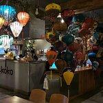 Mui & Koko noodlebar reception area.   Lanterns from Hoi An, Vietnam