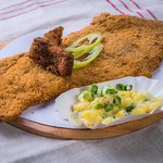 our giant schnitzel. also suitable for 2. But in this case, do not forget to order the 2nd salat