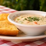 Homemade Clam Chowder with Garlic Bread.