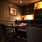 Subdued lighting of the cosy restaurant area