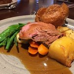 """Roast Beef Sunday Lunch. The beef is cooked sous-vide, then finished as a roast and is to """"die f"""