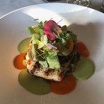 Delicious swordfish artfully presented