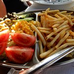 shared side dish, chips and salad