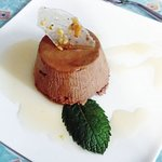 A simple chocolate mousse with a cream centre