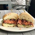 The salmon sandwich... HUGE!