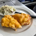 Shrimp smothered with cheddar cheese