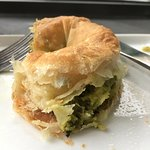 Incredibly flaky hand pulled filo dough Spanakopita, authentic, warm and flavorful.