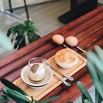 Egg coffee and home-made stuffed pastry