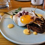 Black pudding, leeks, eggs - scrummy