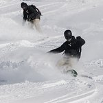 Vivid Snowboarding Instructors enjoying some backcountry riding in Verbier.