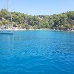 Beautiful bay on Brac island from stern of our boat