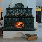 Fireplace in the restaurant