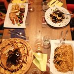 In photo. Seafood ligouini, salmon grilled, steam mussels and spare ribs BBQ