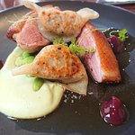 Seared duck breast with duck and water chestnut gyoza soy bean puree and pickled plum jam