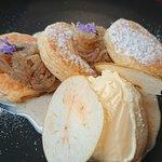 Fried apple turn overs with cinnamon custard and lavender ice cream