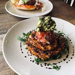 Corn Fritter (front), salmon/avocado (back)