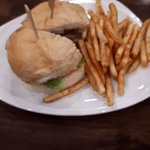 Club Sandwich and Fries at hotel restaurant