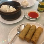BBQ dumplings and spring rolls, the start of a table load of great dishes.