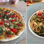 Wegańska pizza z warzywami. Makaron aioli z oliwkami i kaparami.