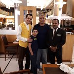 Friendly Mr Rakesh, on the right, and a staff member at the hotel restaurant
