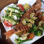 Red snapper, veggies, toss salad with avocado.