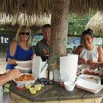 Tom, Gloria, Paul, Keri, Jerry...eating awesome shrimp.