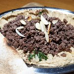 Humus with minced beef at Cardamon, photo by placescases.com