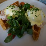 Eggs Benedict on a Waffle