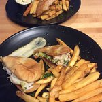 Grilled fish and chips. Dungeness po'boy.